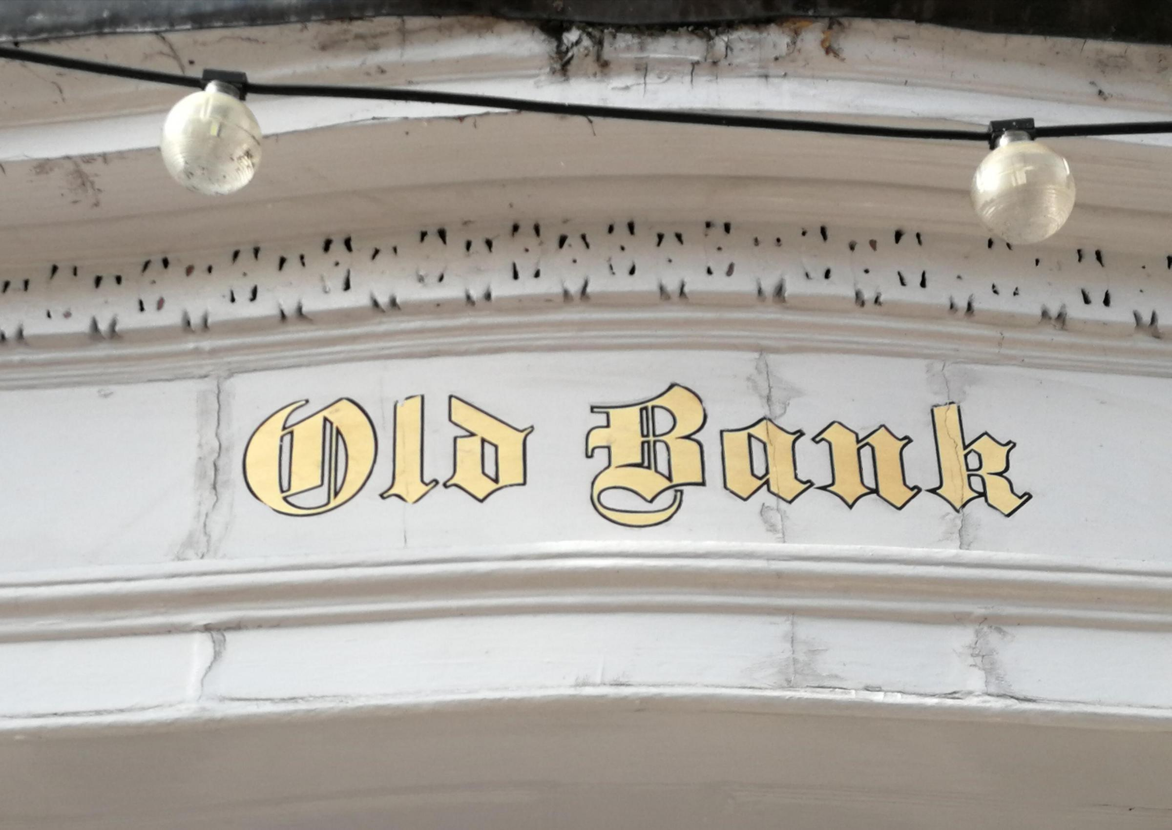 HISTORIC: The 'Old Bank' signage at the Lloyds branch in Upton is safe