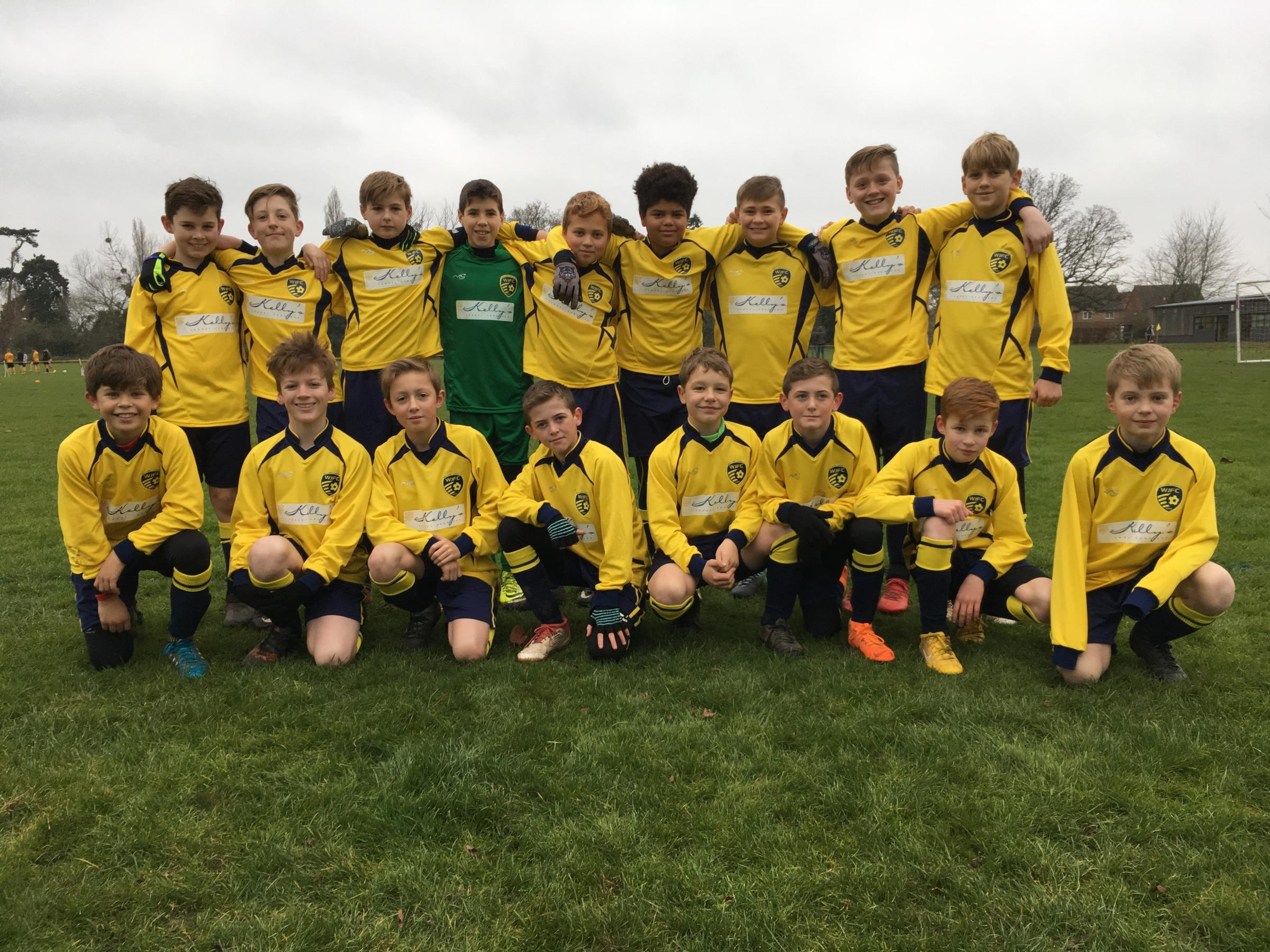 Welland Juniors Lions under 12s face the camera
