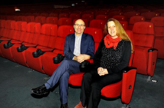 MGJACinema..The cinema at Malvern Theatre is undergoing maintainance, Marketing Director, Fred Moroni and Film Programmer, Hannah Seldon.