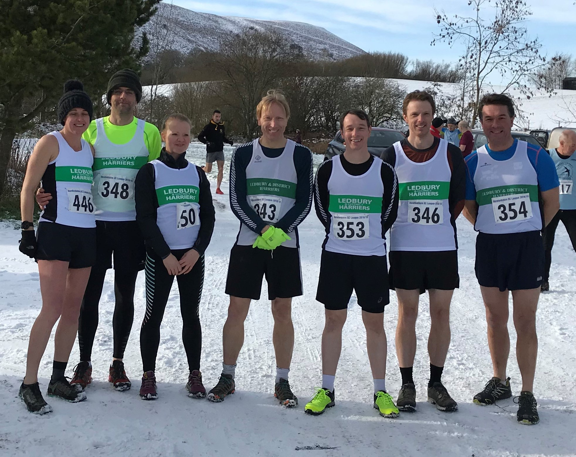 Ledbury Harriers' runners at the penultimate race in the 2018-2019 season of the Herefordshire Cross Country League at Fforest Fields near Builth Wells
