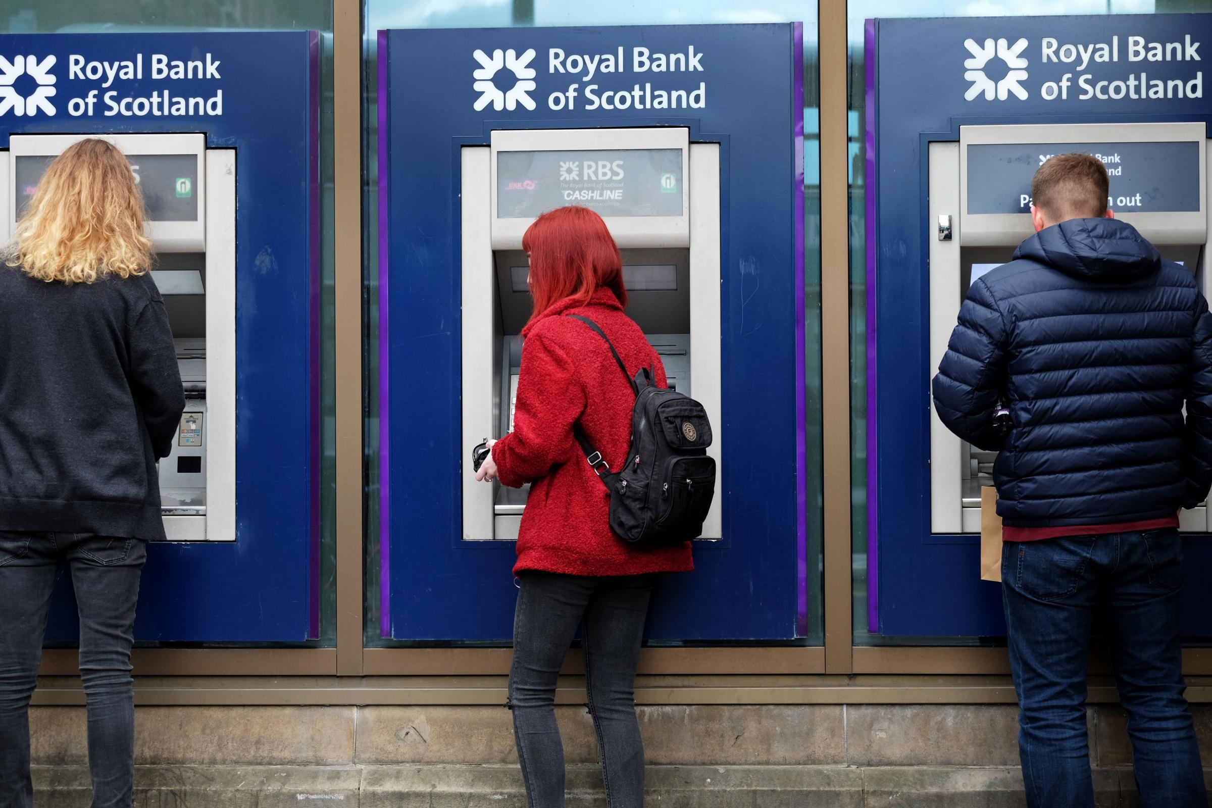 Customers at RBS cash machines