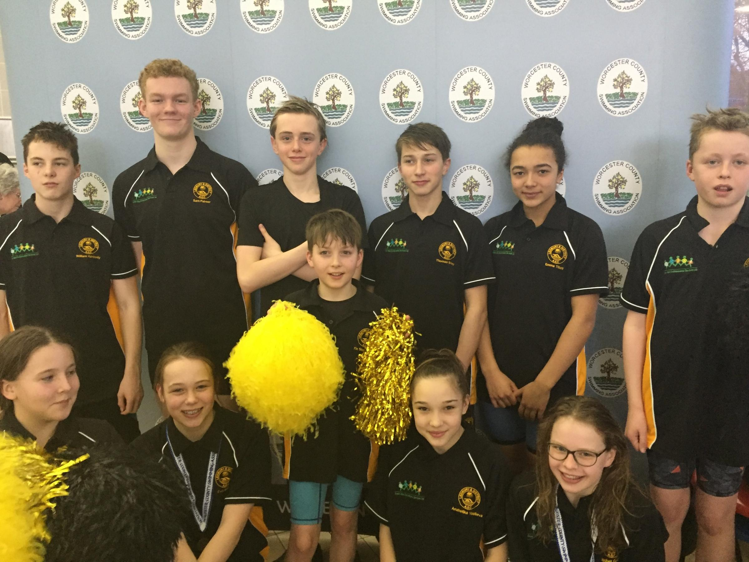 Ledbury's county championship swimmers, back row (left to right): Will Kennedy, Sam Palmer, Oliver Jones, Tom Birley, Emma Tillot and Jacob Gellar. Front: Emily Goggins, Eva Bailey, Fin Stephenson, Angie Vasileva and Isobel Gellar. Picture: REBECCA MA