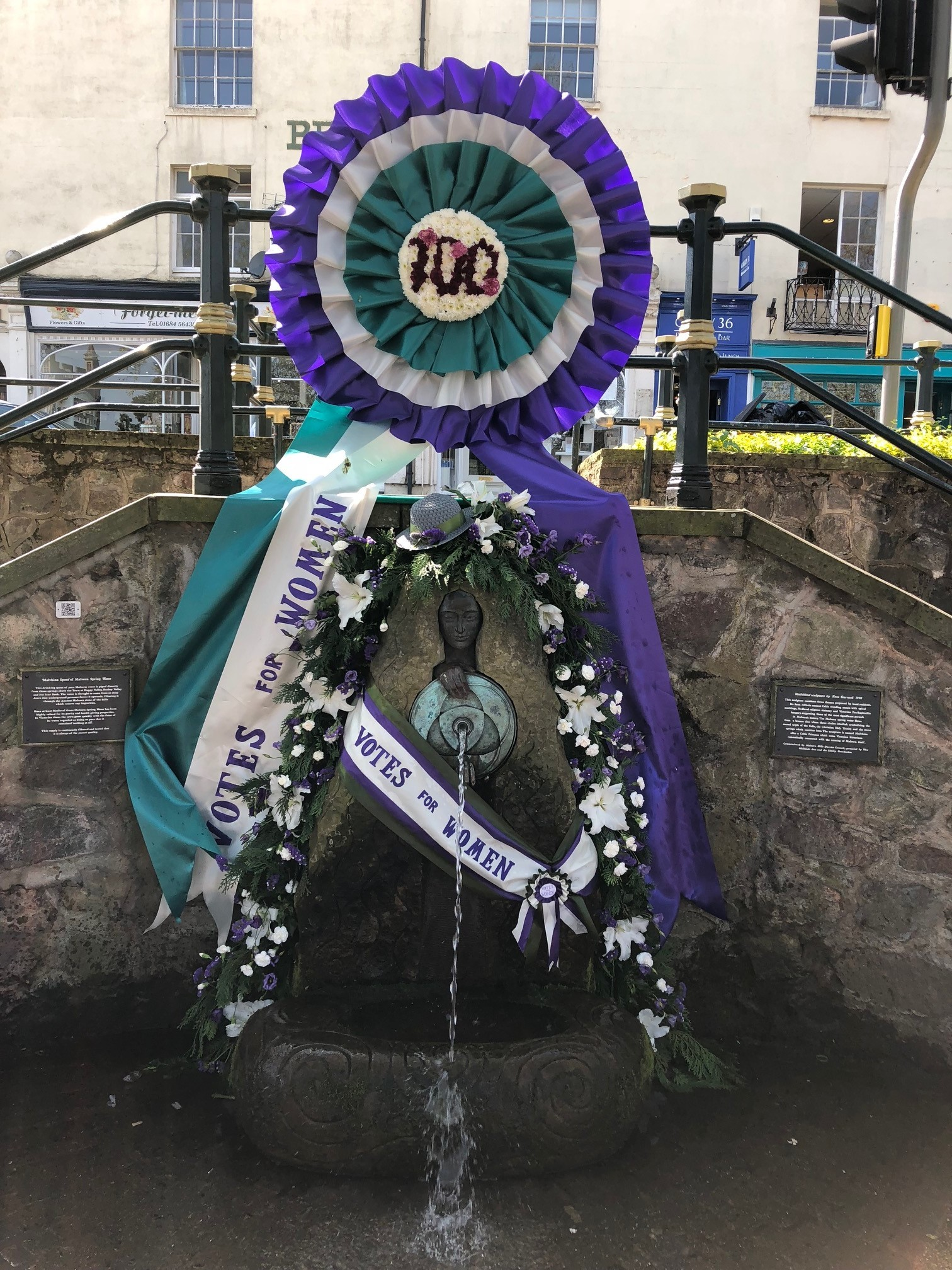 FESTIVAL: The Malvhina Fountain on Belle Vue Terrace was decorated last year to celebrate 100 years of votes for women.
