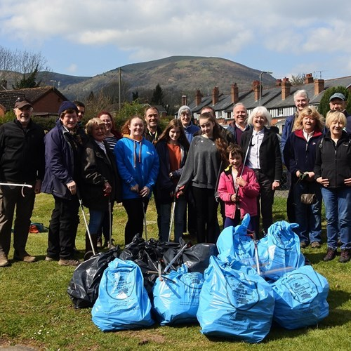 LITTER PICKERS: Many bags collected at the end of the day