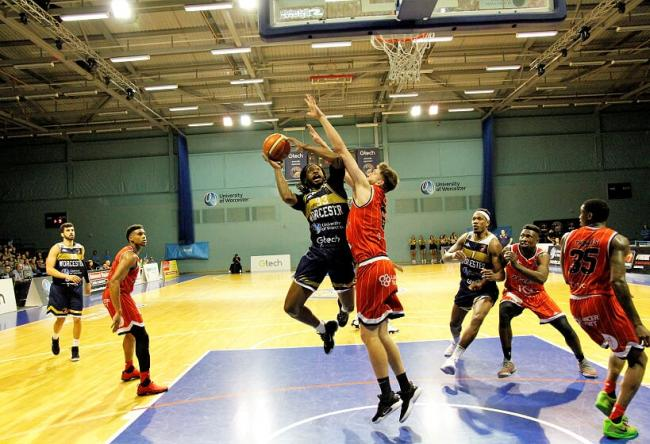 Deshawn Freeman heads to the basket for Worcester Wolves against Bristol Flyers. Picture: KEITH HUNT
