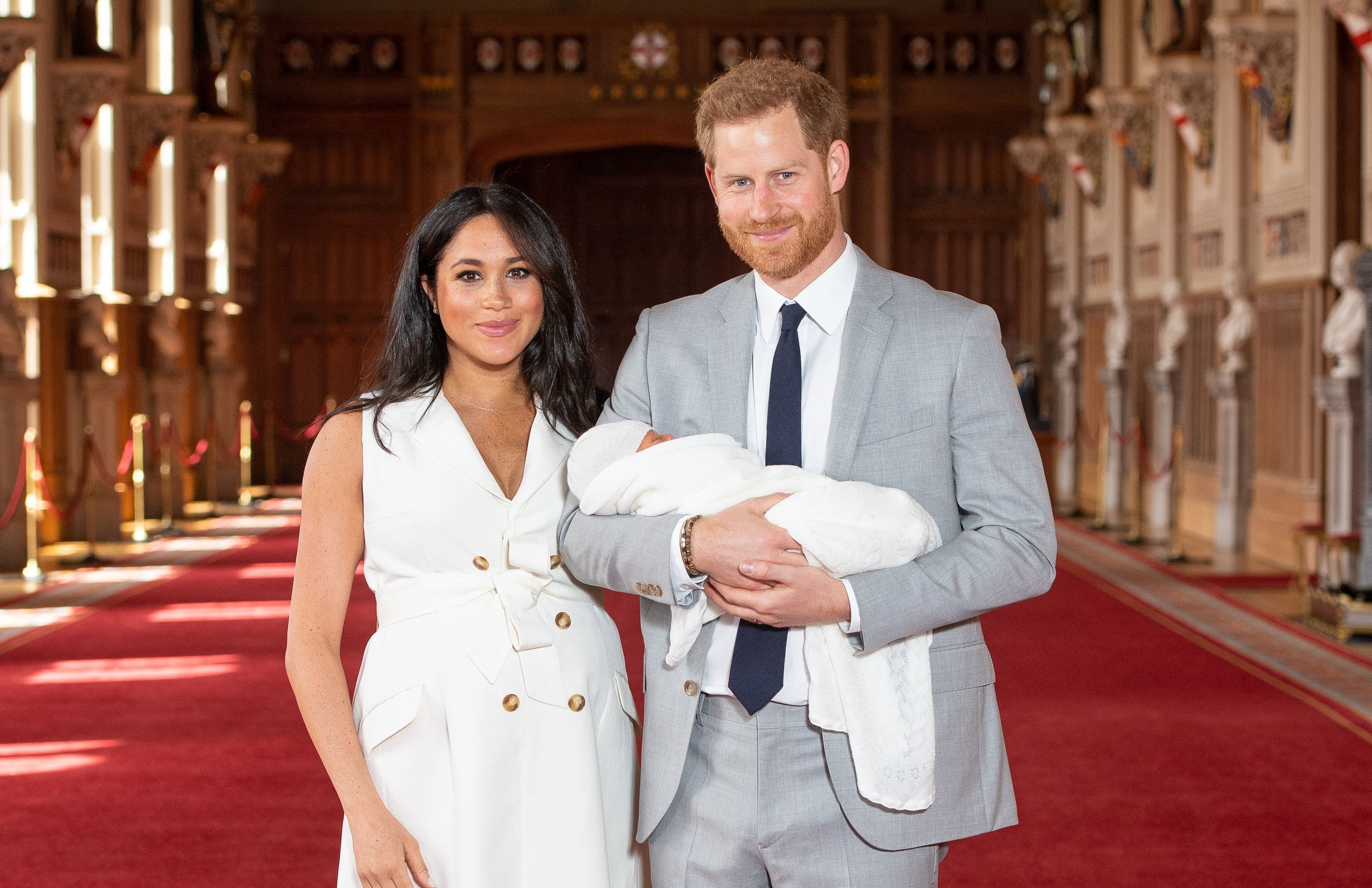 BABY: The DUke and Duchess of Sussex with Baby Archie, who was born on Monday. Pic. PA Wire