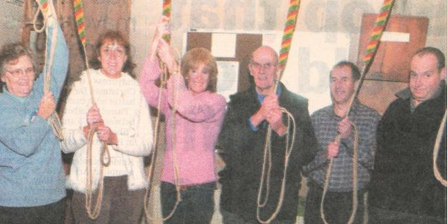 TODAY'S picture from the archive of the Worcester News dates back to January 2006, when the bell-ringers of Madresfield Church, near Malvern, were celebrating the completion of a £25,000 restoration. Pictured are (from left): Val Levick, Stephan