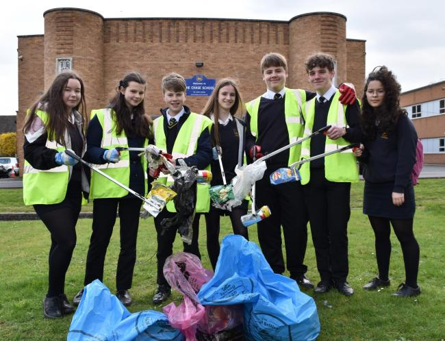 Students from The Chase School in Malvern took part in a litter pick for their whole school eco-afternoon held as part of the Great British Spring Clean.