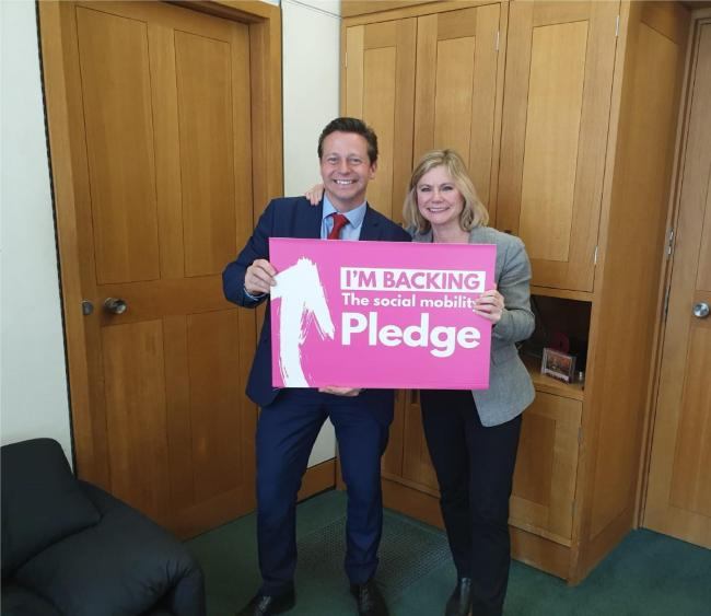 PLEDGE: Nigel Huddlestone MP with Justine Greening MP