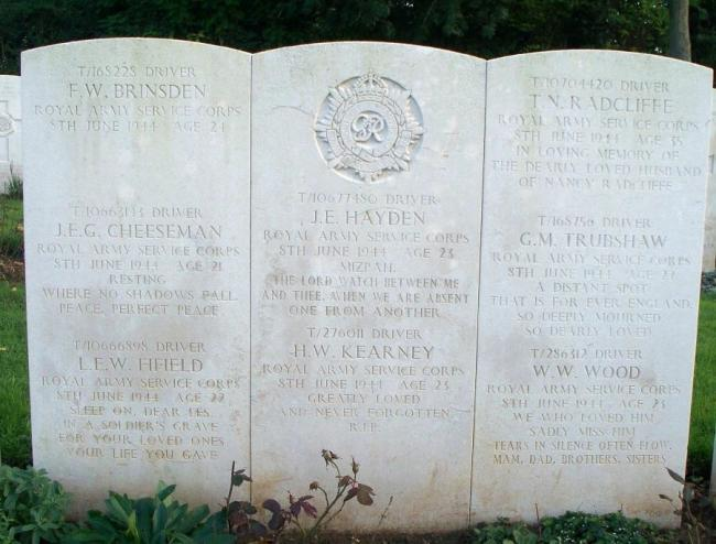 John Edward Hayden's grave at Hermanville War Cemetery. Research carried out by carried out by Dr Simon Fielding