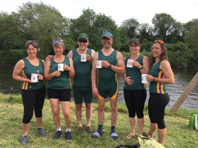 Upton Rowing Club members show off their pots at Hereford City Regatta